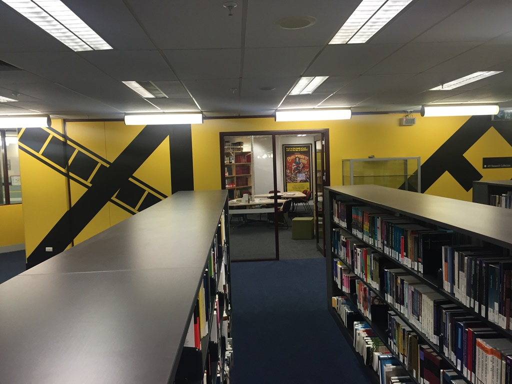 Image of yellow wall of the AFI Research Collection